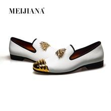Meijiana nova marca de luxo homens mocassins retalhos couro genuíno e crina dedo do pé redondo deslizamento em mocassins sapatos masculinos