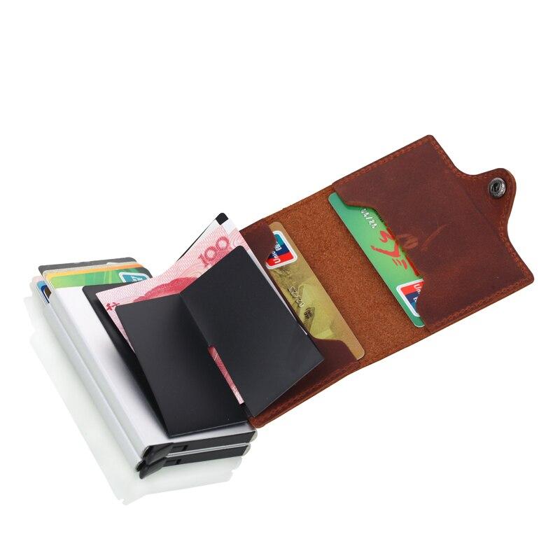 Crazy Horse Läder Kreditkort Hållare Säkerhetsinformation Dubbla - Plånböcker - Foto 4