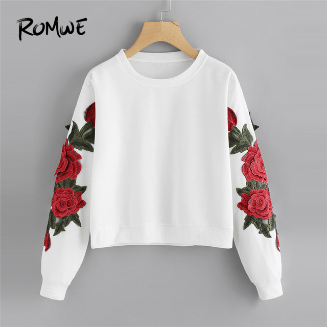 romwe rose embroidered applique crop sweatshirt women tops