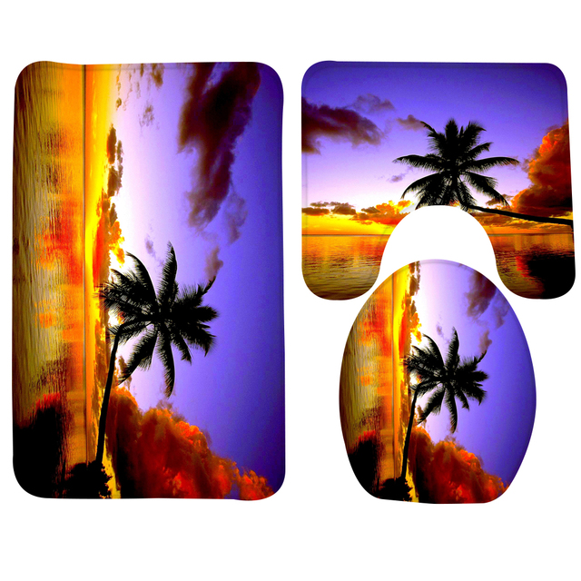 3pcs Bathroom Mat Set Beach Sunset Palm Tree Bath Rug Soft Toilet And Non Slip