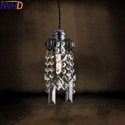 IWHD  Loft Style Industrial Vintage Pendant Lights Black Water Pipe Retro Hanging Lamp Home Lighting Fashion Crystal Hanglamp iwhd loft retro led pendant lights industrial vintage iron hanging lamp stair bar light fixture home lighting hanglamp lustre