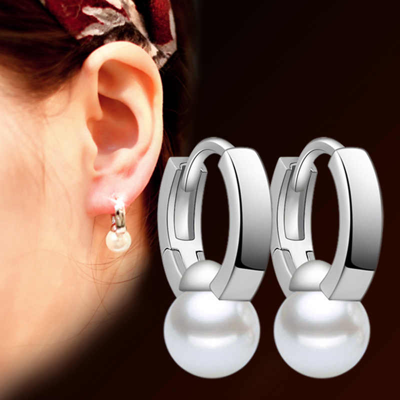Trendy Temperament Fashion small hoop stainless steel earrings Apollo Imitation pearl 2019 lot korean earrings For Women
