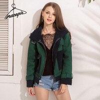 Gracegirl Women Winter Jacket Lambs Wool Warm Suede Patchwork Basic Coat Thick Zipper Up Casual Abrigos