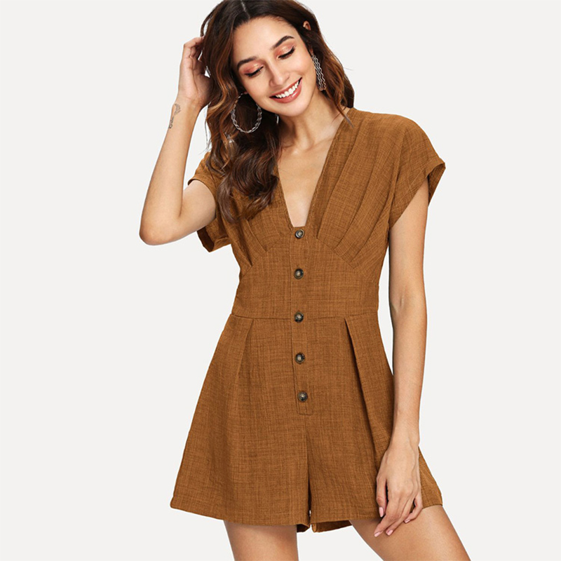 Sexy Deep V-Neck Casual Button Soild Rompers Women Loose Simple Short Sleeves Jumpsuits Fashion Slim Waist Ladies Playsuits New