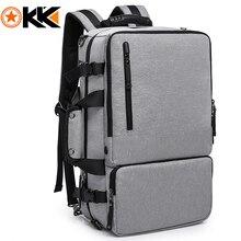 KAKA อเนกประสงค์ 15.6 นิ้วแล็ปท็อปกระเป๋าเป้สะพายหลังขนาดใหญ่ความจุกระเป๋าเดินทางผู้ชายกระเป๋าสะพายสีเทาพักผ่อน Backpacking