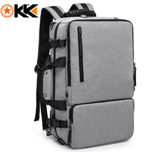 KAKA  Functional 15.6 inches Laptop Travel Mens Backpack Large Capacity Men Luggage Shoulder Bags Gray Leisure Backpacking