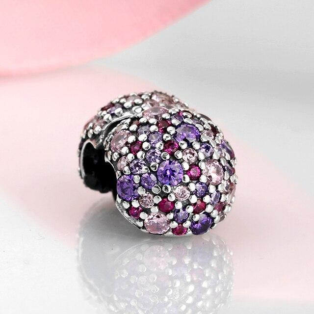 Reale dell'argento sterlina 925 di fascino Rosa viola Colourful Rotonda perle di Forma per le clip Fit Originale Pandora Pendenti e Ciondoli Dei Monili Del Braccialetto