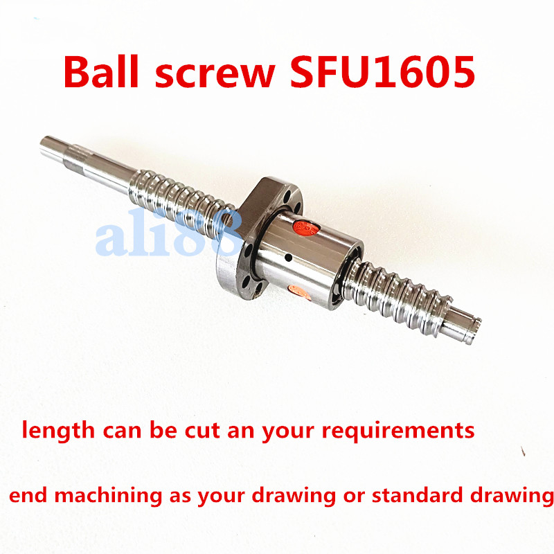 C7 Ballscrew SFU1605 526.6/584.6 mm Ballnut Ball Screw RM 1605 End Machined with Processing according to drawings for CNC parts