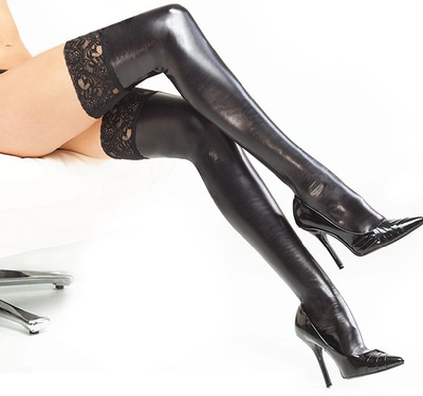 Sexy Lace High Leather Stockings Patchwork Women PU Stocking Over Knee Thighs Queen Pants Ladies Clothing