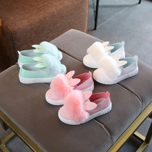 2019 Children Rabbit Shoes Band Soft Sole Girls PU Leather Flats Pink/Gold/Silvers Bowknot Rhinestone Flower Dress