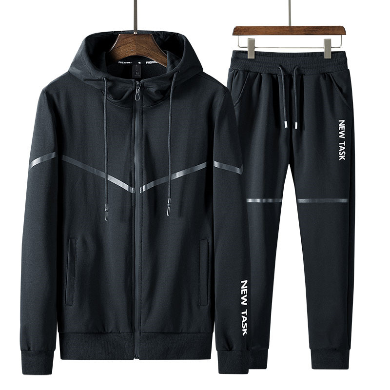 New Fashion Men'S Sportswear Suits Slim Fit Spring Autumn Sets Hoodie Coat +Ankle Length Pants Young Male Tracksuit Clothes