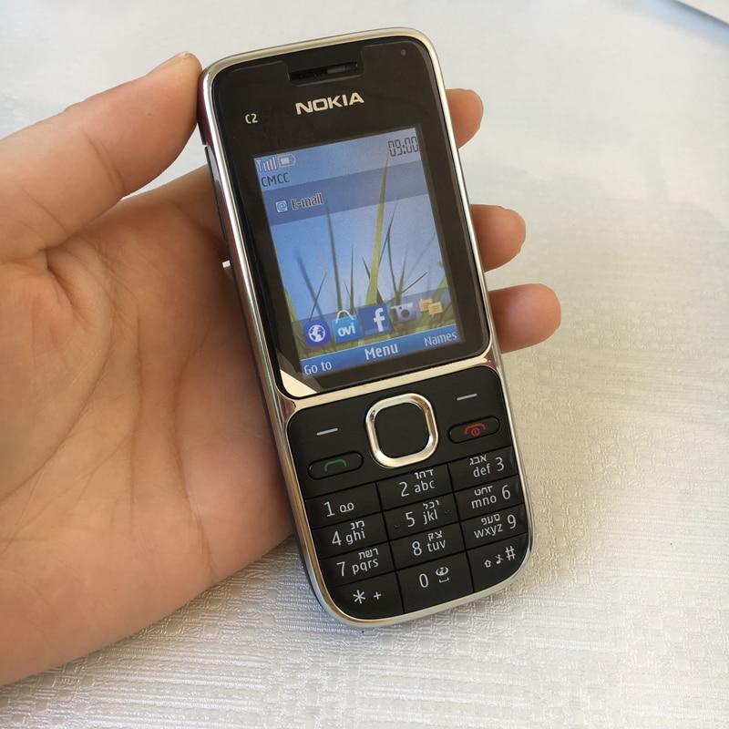 Nokia C2 C2-01 разблокированный мобильный телефон восстановленные мобильные телефоны и Иврит Русский Арабский Клавиатура