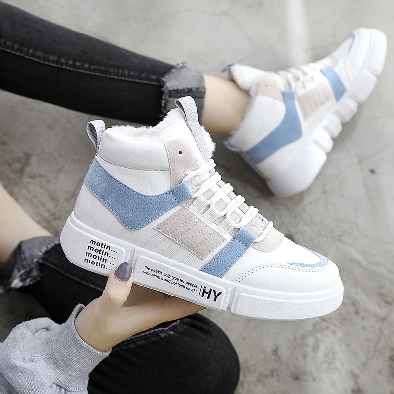 White Shoes Woman Sneakers Platform 2019 High Top Sneakers Warm Womens Winter Fur Sneakers Female Casual Outdoor Snow Shoes