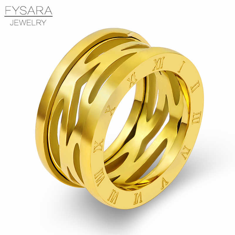 FYSARA Titanium Steel Jewelry Luxury Brand Love Ring Rose Gold Hollow Roman Numeral Rings for Women Men Thumb Rings Classic Gift