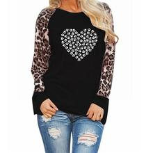 2019New Fashion T-Shirt for Women Leopard Print Long Sleeve T-Shirt Cat Dog Paw Animal Print Top Plus Size Tops Punk Funny Femme long sleeve plus size palm print asymmetrical t shirt