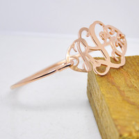 Wholesale Rose Gold Monogram Thin Bangle Personalized 3 Initial Nameplate Bracelet Retro Custom Jewelry Bridesmaid Gift