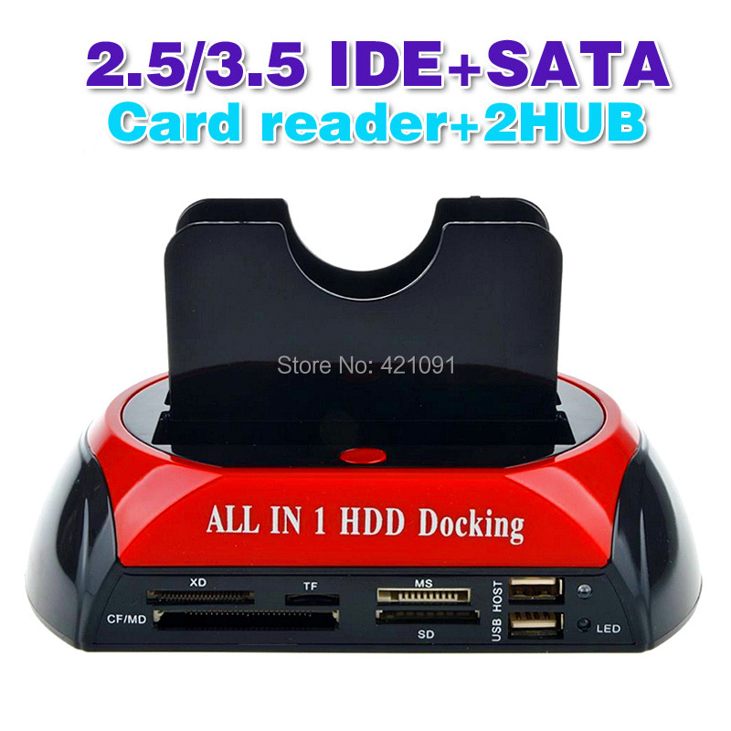 2.5 3.5 Inch IDE SATA Hard Drive Base with Card Read 02
