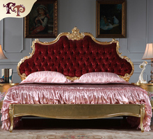 Hot 2016 popular elegant europ ebeds indonesia furniture wholesale painted queen bed Rococo Style Furniture