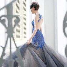 High-End-Royal Blaue Spitze Meerjungfrau Abendkleider Mit Grau Tüll Abendkleid Tiefem V-ausschnitt Sexy Backless Abendkleider 2016