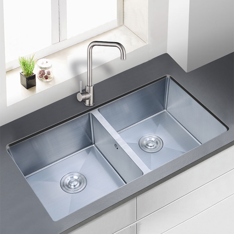 304 Stainless Steel Sink Kitchen Bench With Large Double Troughs Around The Same Set Of Large Washing Basin Double Bowl