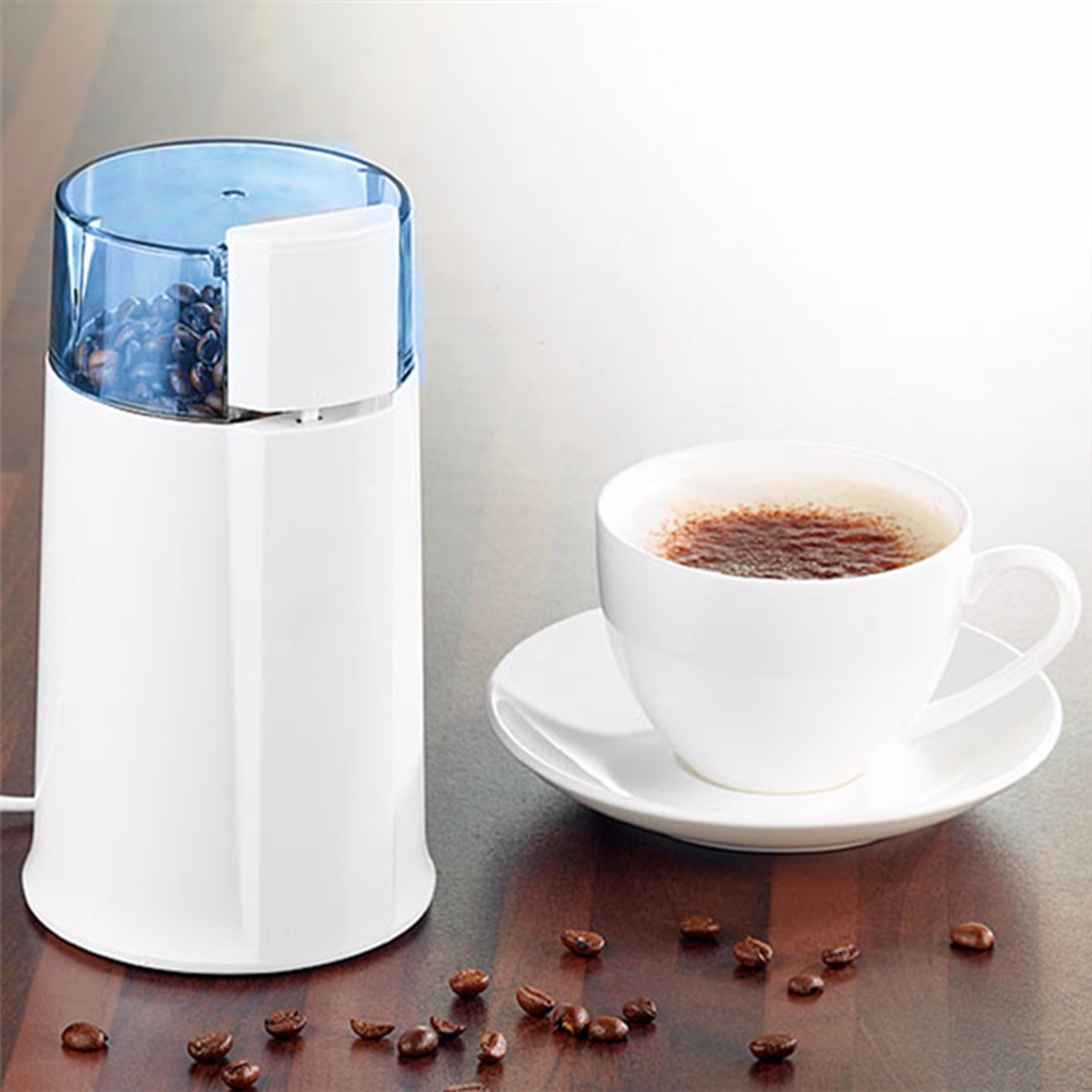 White ABS 220V-240V 100W Electric Coffee Bean Nut Spice Blade Grinder Blenders Coffeeware Pot Coffee Maker EU Plug Home Office