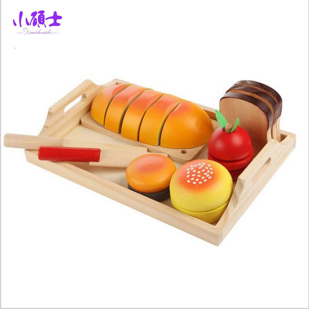 Wooden Fruits Bread Kitchen Cutting Toys Set For Children Kids Learning Education Food Play Toys Gift