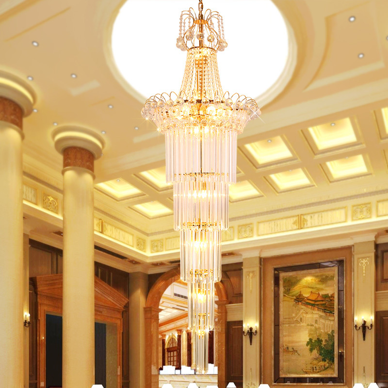 K9 Crystal Pendant Lamp Stairs Long Pendant Light Living Room Lobby K9 Crystal Lamp Hotel Exhibition Hall Hanging Lamp