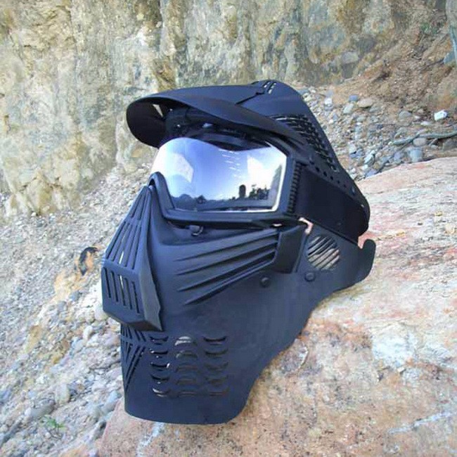 Outdoor Military Safety Gear Tactical Airsoft Paintball Goggle Masks CS Wargame Combat Full Face Mask With Neck Protector