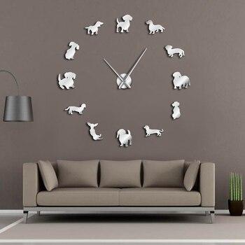 닥스 훈트 diy 대형 벽시계 인기 개 품종 소시지 개 doxie 거대한 현대 벽시계 wiener 개 벽 예술 애완 동물 가게 장식