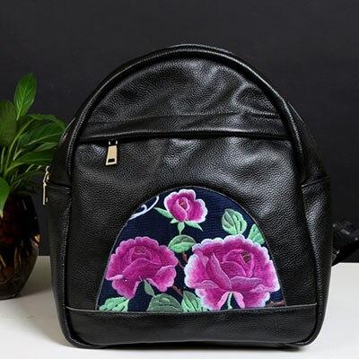 Femmes dames mode luxe printemps été automne sacs à dos sac à dos sac à dos en cuir véritable broderie classique sacs noir