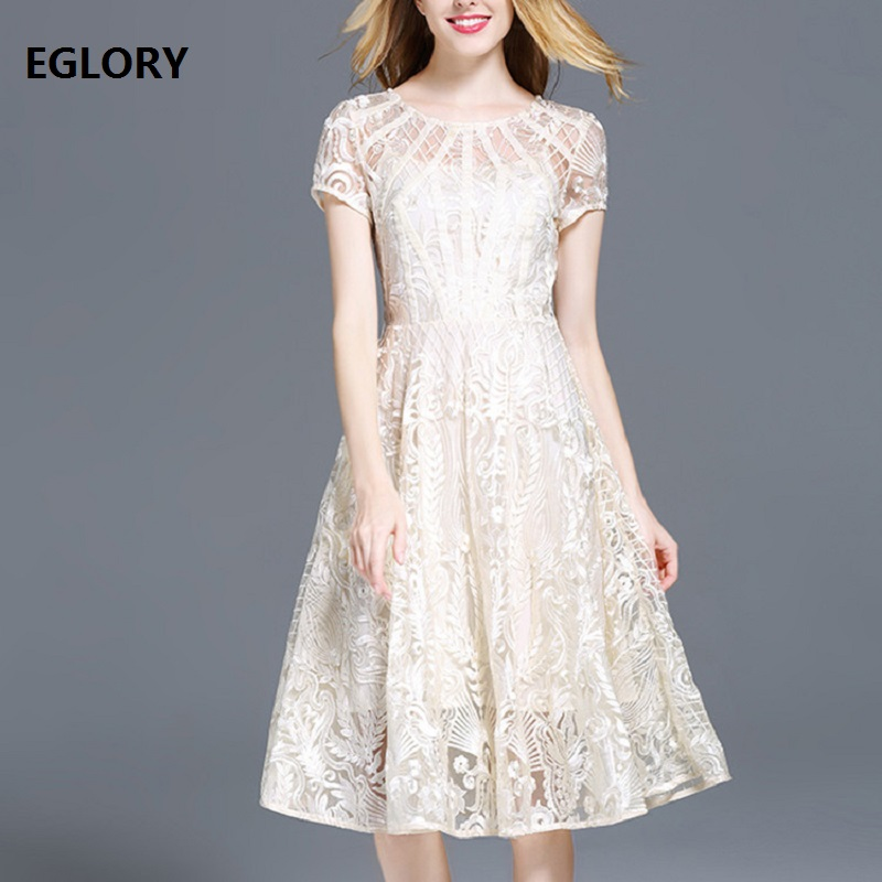 xxxl new lace dress 2018 summer bridesmaid ladies o-neck solid lace flower patterns short sleeve midi a-line dress woman events