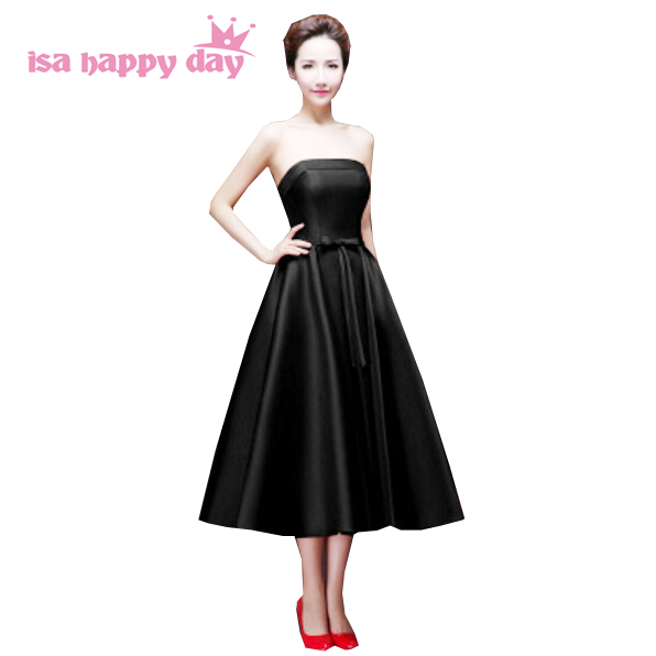 High Fashion Black Formal Wear Mid Red Strapless Green Ladies Gown