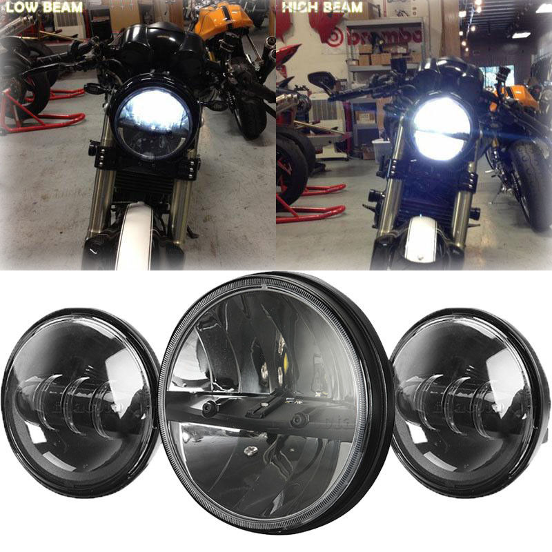 Motorcycle 7 LED Daymaker Headlight Passing Light for Harley Davidson Touring rsd motorcycle 5 hole beveled derby cover aluminum for harley touring flh t 2016 2017 for flhtcul and flhtkl 2015 2016 2017