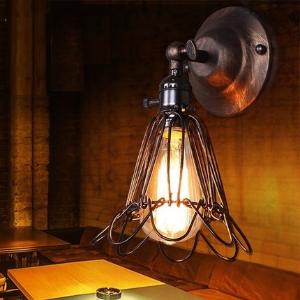 Loft Style Iron Vintage Wall Light Fixtures Industrial Wind Edison Wall Sconces For Stair Bedside Wall Lamp Indoor LightingLoft Style Iron Vintage Wall Light Fixtures Industrial Wind Edison Wall Sconces For Stair Bedside Wall Lamp Indoor Lighting