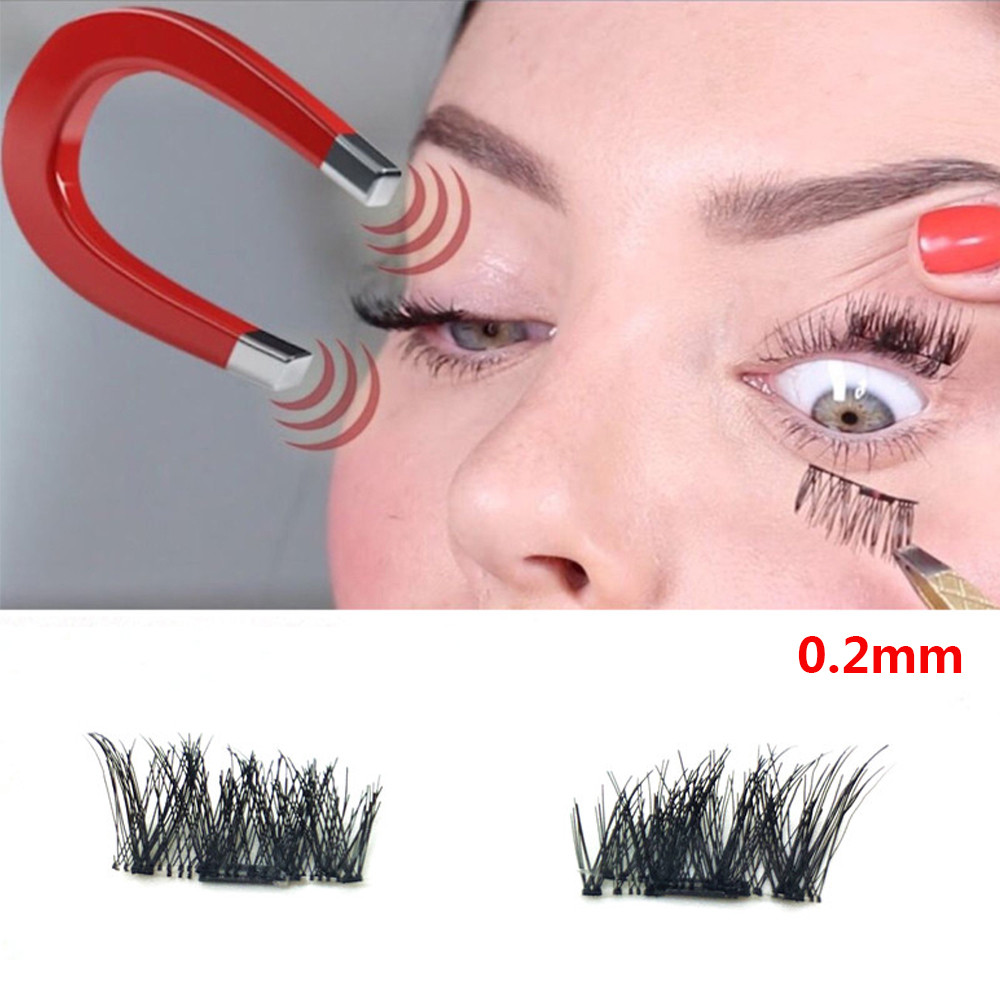 2017 Pro Natural Long Sparse Cross 0.2mm 3D False Eyelashes Magnetic Eye Lashes Thick Ma ...