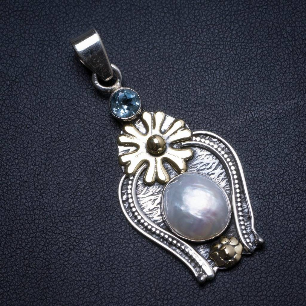Natural Biwa Pearl and Blue Topaz Handmade Unique 925 Sterling Silver Pendant 2