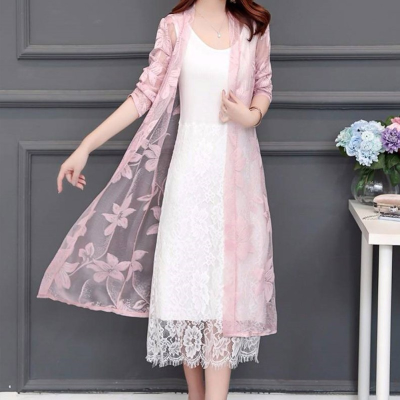 Summer Women Floral LACE UP Kimono Cardigan Sun Protection Clothing Beach Long Blouses Casual Ladies Beach Cover Up Thin Coats