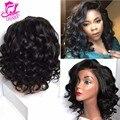 7A Short Bob Wigs For Black Women Loose Wave Brazilian Virgin Hair Lace Frontal Human Hair Bob Wigs Curly Short Human Hair Wigs