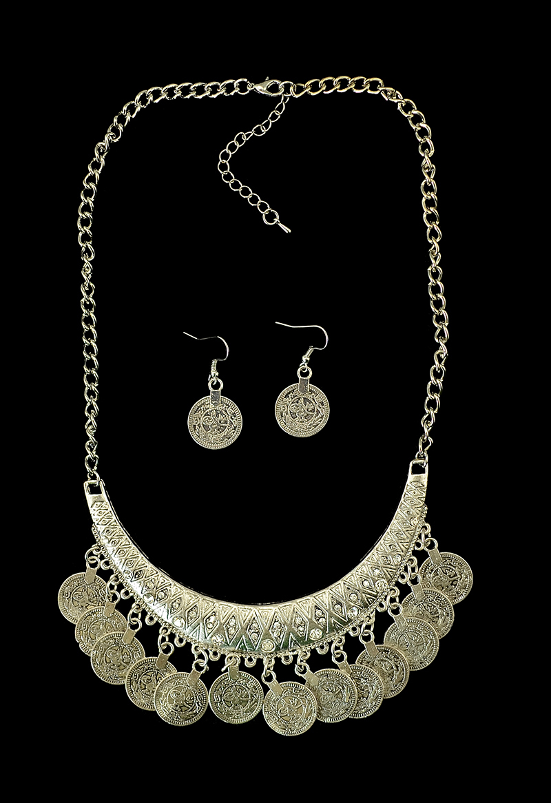 Turkish Flower Retro Chainmail Collar Choker Belly Tribal Gypsy Boho Silver Coin Necklace Earrings