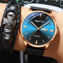 GIMTO New Watches Mens Quartz Watch Luxury Brand Ultra Thin Dial Sports Wristwatch Man Waterproof Week Clock Relogio Masculino