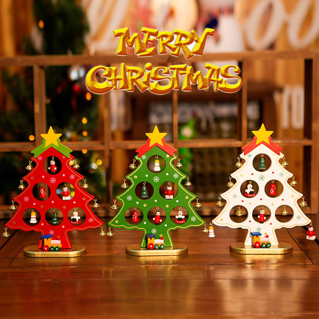 DIY Christmas Decoration Ornament Wooden Christmas Tree Hanging Ornament Gift For Children Home Table Decoration