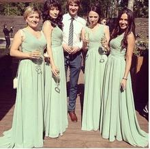 Cheap Mint Chiffon Long Bridesmaid Dresses 2016 Sexy Pleated A Line Ruffles Wedding Party Dress Bridesmaid Gowns C92