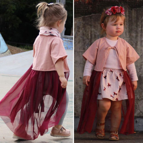 New Kids Baby Girl Lace Short Sleeve Sunscreen Outerwear Tutu Tulle Mesh Dress Open Coat Outfits
