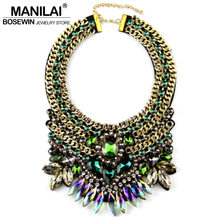 MANILAI Brand Women Party Exaggerate Accessories Luxury Choker Multicolor Crystal Bead Collar Statement Necklaces Maxi Jewelry(China)