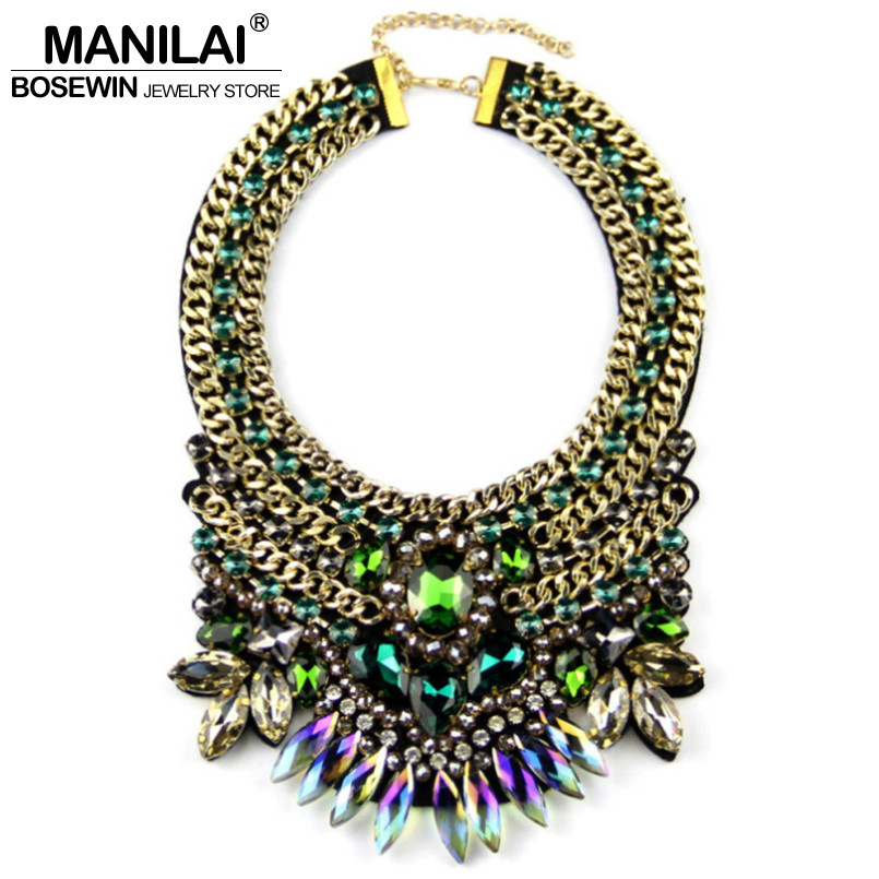 MANILAI Brand Women Party Exaggerate Accessories Luxury Choker Multicolor Crystal Bead Collar Statement Necklaces Maxi Jewelry plus size funnel collar maxi asymmetric hoodie