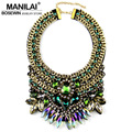 MANILAI Brand Women Party Exaggerate Accessories Luxury Choker Multicolor Crystal Bead Collar Statement Necklaces Maxi Jewelry