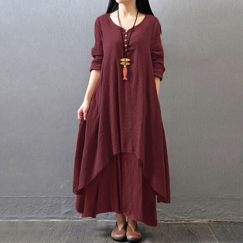 EaseHut Vintage Women Casual Loose Dress Solid Long Sleeve Boho Ethnic Autumn Long Maxi Dresses Plus Size Retro vestido mujer 8
