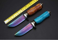 Toplu New Brand Damascus Hunting Fixed Blade Knives Outdoor Straight Knives Tools,Survival Straight Knife Camping Tools