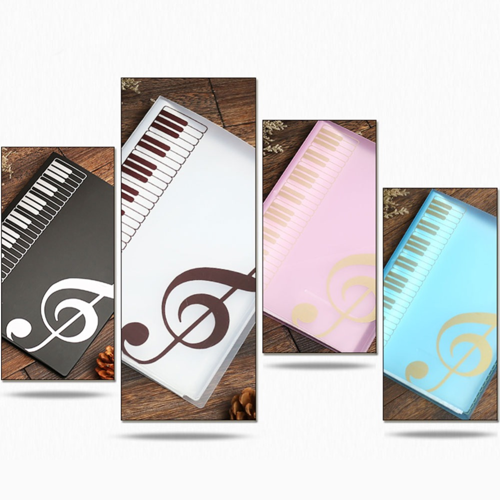 40 Sheets Multi-layer A4 Music Keyboard Transparent Page Booklet Folder Student Teacher Test Folder Office School Supplies