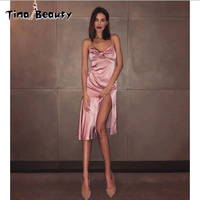 Celebrity Night Club Party Pink Dress Women's 2018 Summer Sleeveless V Neck Sexy Satin Dress Female Ropa Mujer Verano 2018